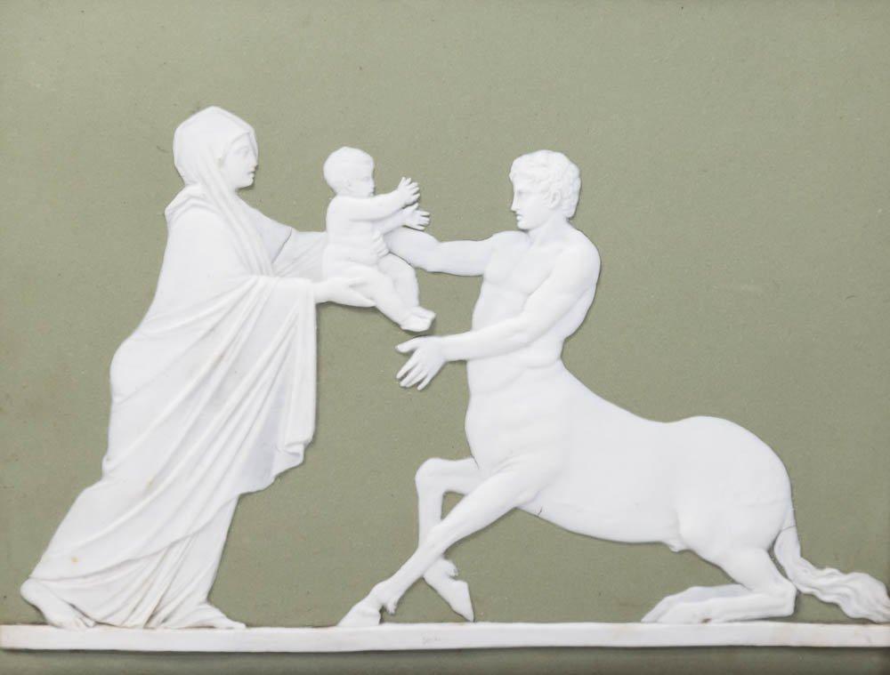 Pair Wedgwood Green & White Mythological Plaques - 2