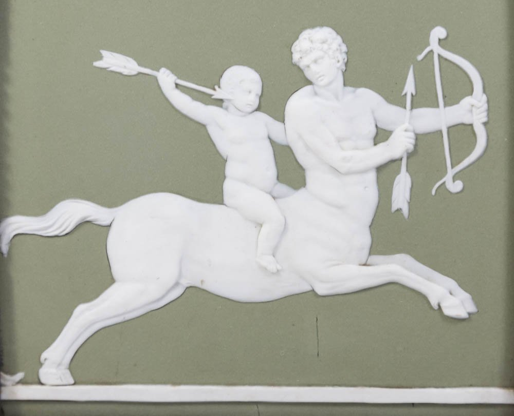 Pair Wedgwood Green & White Mythological Plaques - 3