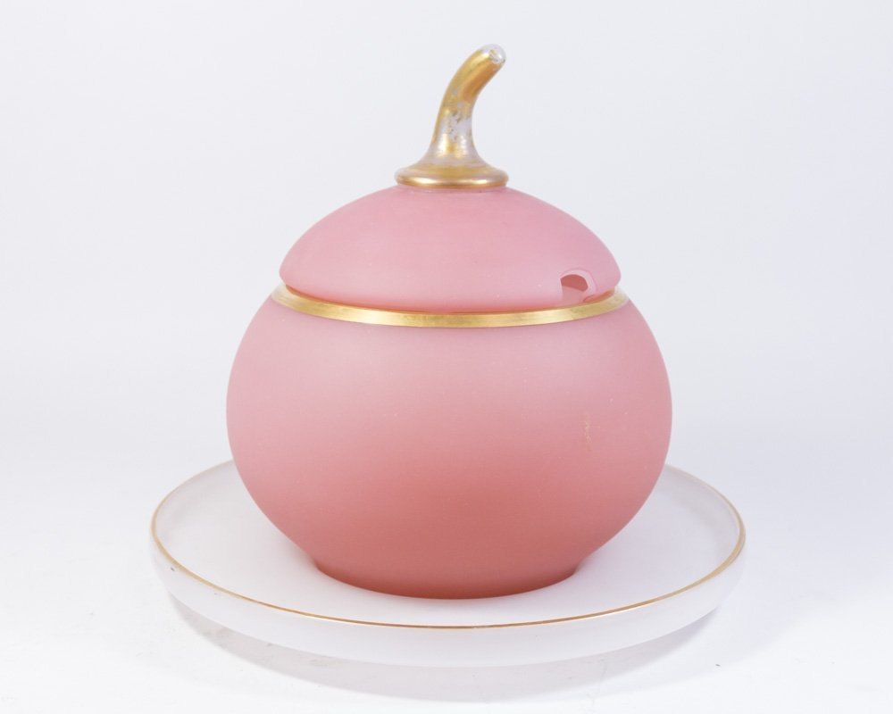French Charles X Style Pink Opaline Punch Bowl