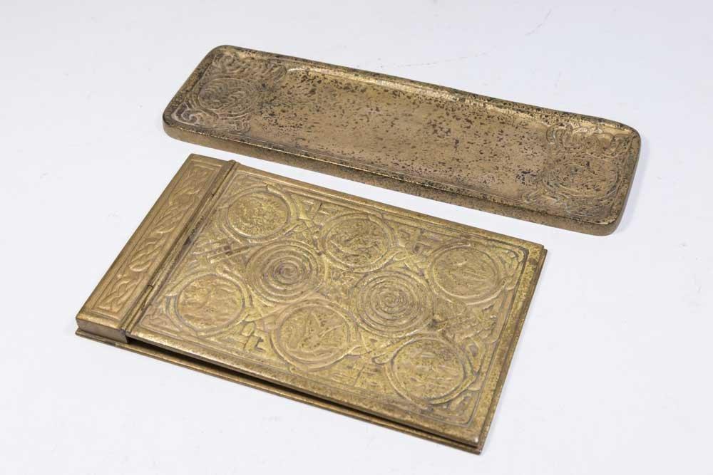 Tiffany Studios Bronze Memo Pad & Tray