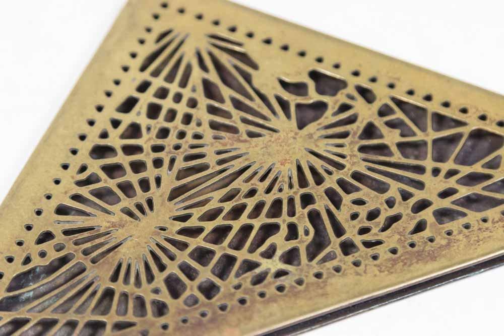 4 Tiffany Studios Bronze Pine Needle Blotter Ends - 2