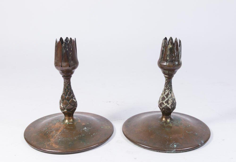 Pair Bronze Tiffany Studios Candle Holders