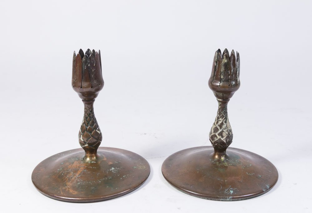 Pair Bronze Tiffany Studios Candle Holders