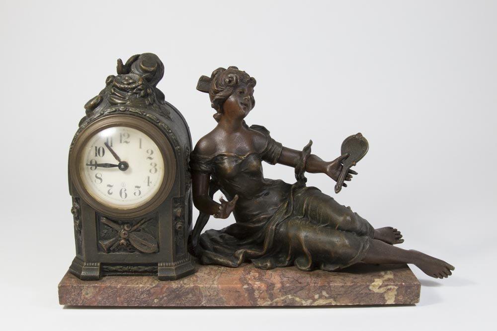 Gilt Metal Art Nouveau Figural Mantel Clock
