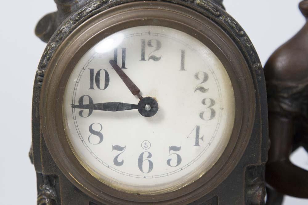 Gilt Metal Art Nouveau Figural Mantel Clock - 2