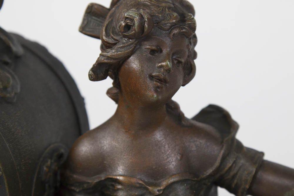Gilt Metal Art Nouveau Figural Mantel Clock - 3