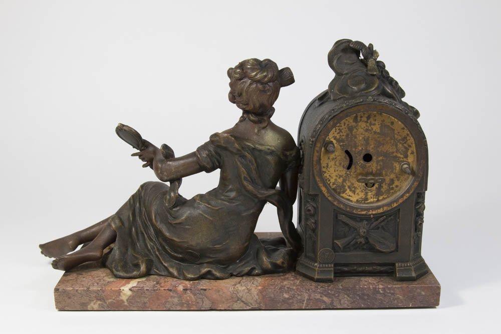 Gilt Metal Art Nouveau Figural Mantel Clock - 4