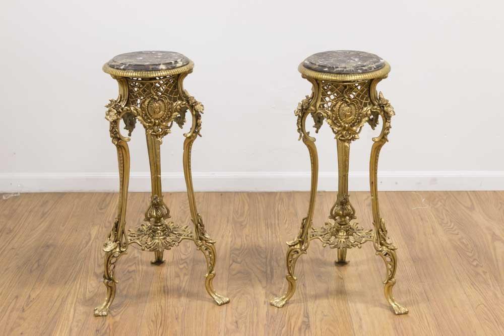 Pair Louis XV Style Gilt Brass Pedestals