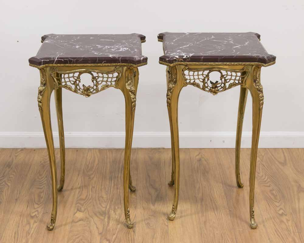 Pr Louis XV Style Gilt Brass & Marble Side Tables