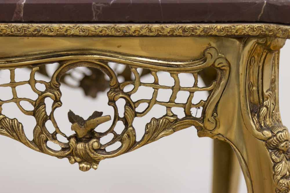 Pr Louis XV Style Gilt Brass & Marble Side Tables - 2