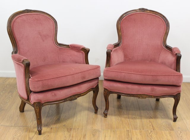 Pair Red Crushed Velvet Walnut Frame Chairs