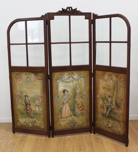 French Style Carved Oak 3-Panel Screen