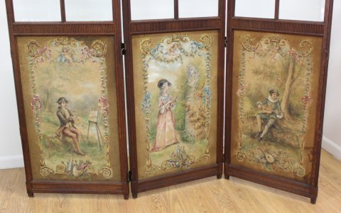 French Style Carved Oak 3-Panel Screen - 2