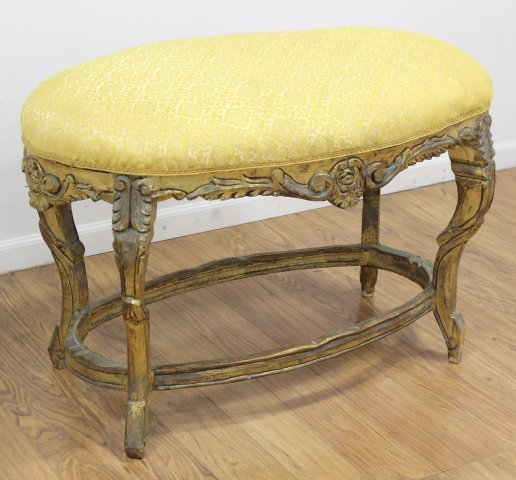 French Style Carved Oval Bench
