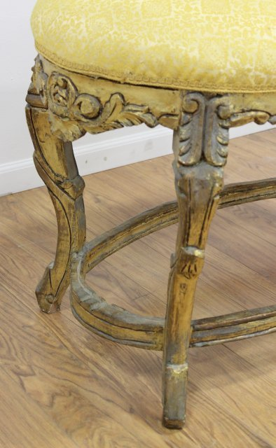 French Style Carved Oval Bench - 2