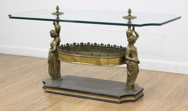 Neoclassic Style Gilt Metal Figural Coffee Table