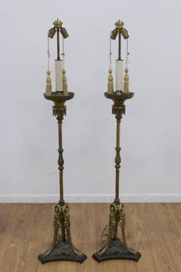 :Pair Brass Torchère Lamps