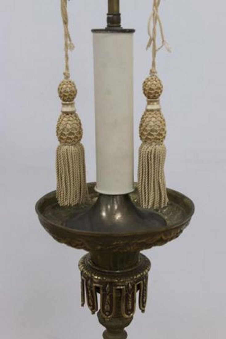 :Pair Brass Torchère Lamps - 2