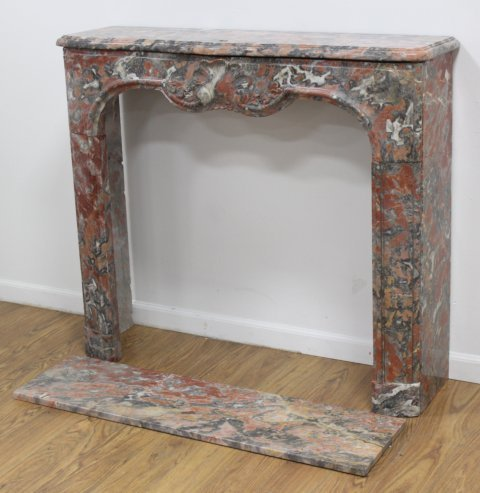 Louis XV Style Carved Red & Grey Marble Fireplace