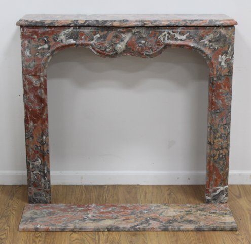 Louis XV Style Carved Red & Grey Marble Fireplace - 2