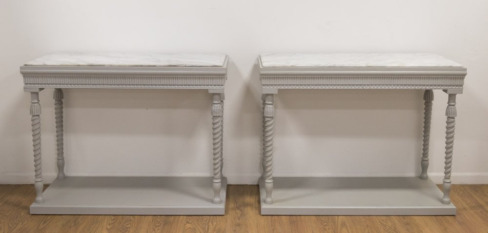 Pr Swedish Neoclassic Style Grey Painted Consoles