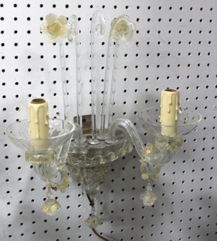 :Pair of Venetian Glass 2-Arm Sconces - 3