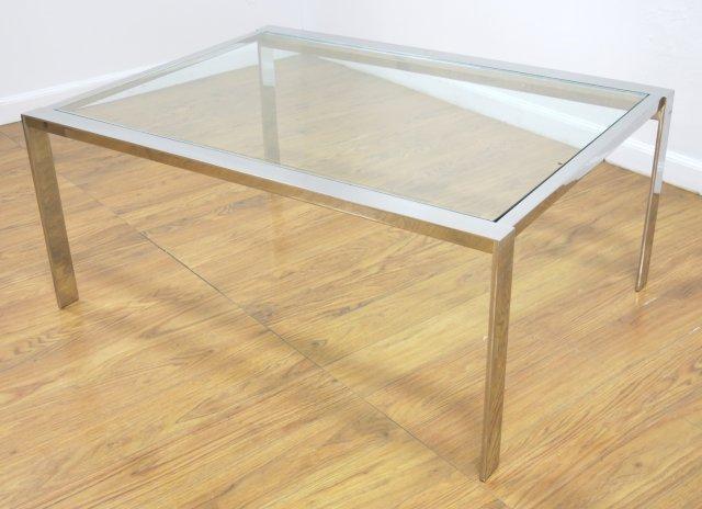 :Chrome Steel & Glass Coffee Table