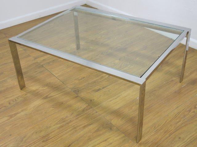 :Chrome Steel & Glass Coffee Table - 2