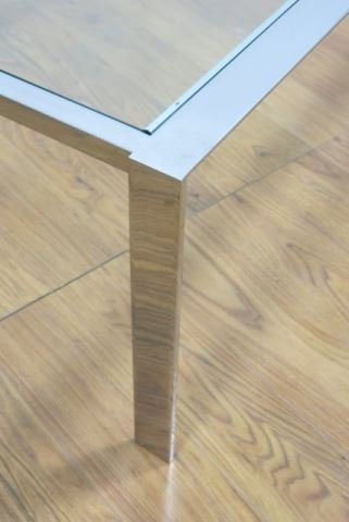 :Chrome Steel & Glass Coffee Table - 3
