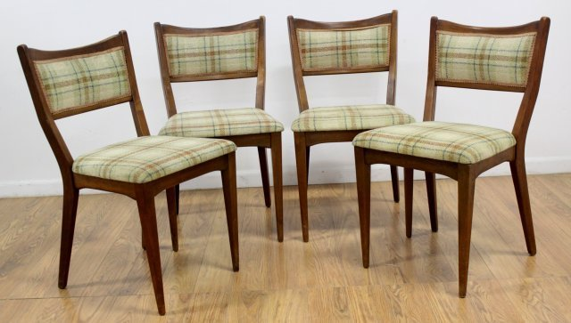 :Set 4 American Mid Century Walnut Dining Chairs