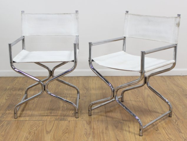 Pair 70s Chrome X-Form Chairs