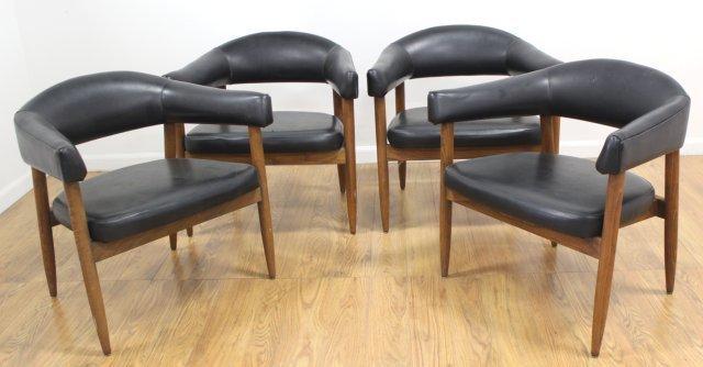 Set 4 Mid Century Walnut Armchairs