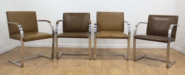 Set 4 Knoll Chrome Armchairs