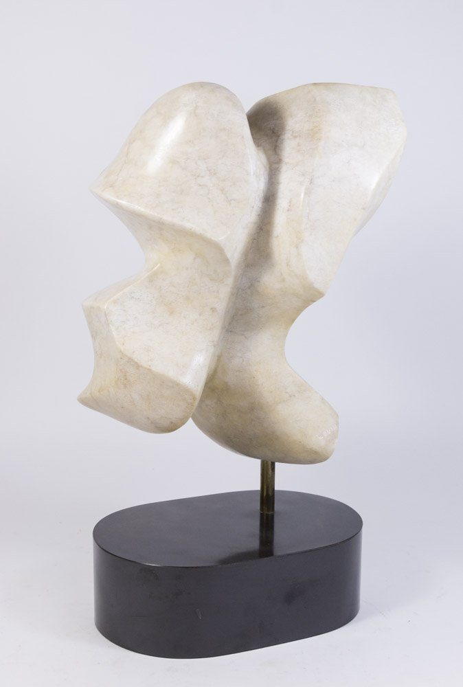Levin, Marble Abstract Sculpture on Oval Plinth - 2