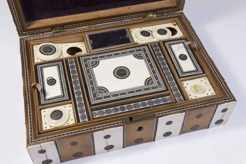 Antique Inlaid Sewing Box - 7