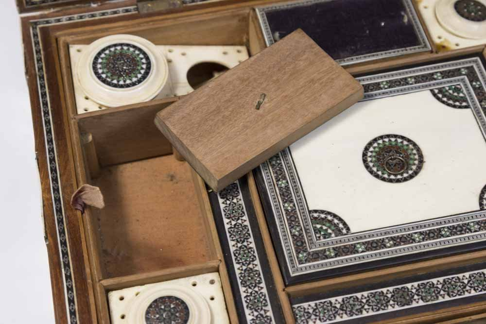 Antique Inlaid Sewing Box - 8