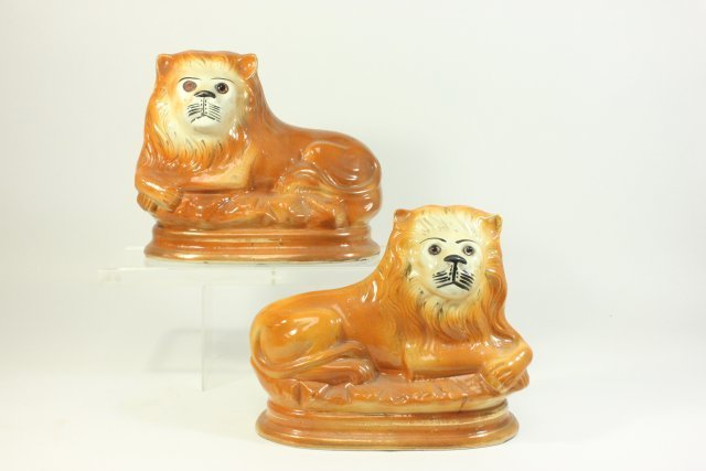 Matched Pair of Staffordshire Ceramic Lions