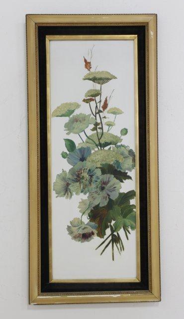 Large Painted Floral Porcelain Plaque on Tile