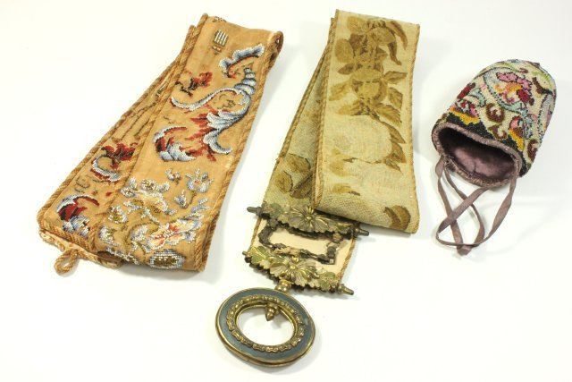 3 Antique Embroidered & Beaded Pieces