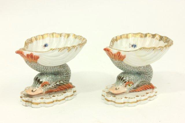 Pair 19th Cent. Old Berlin Porcelain Salt Cellars