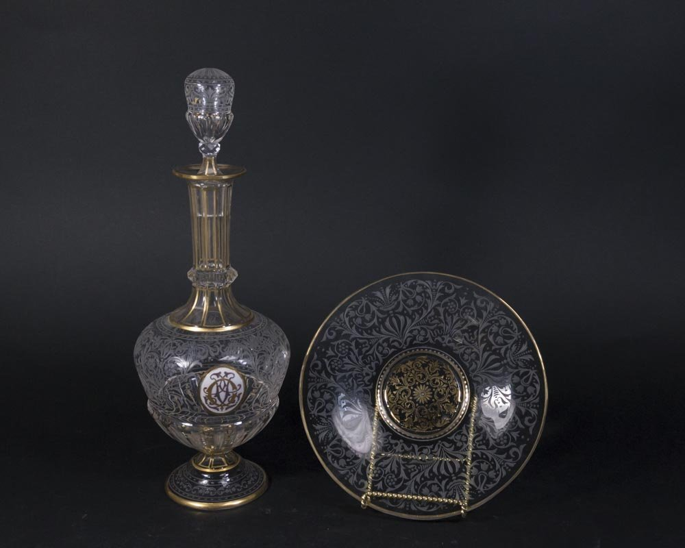 Moser Style Etched Glass Decanter