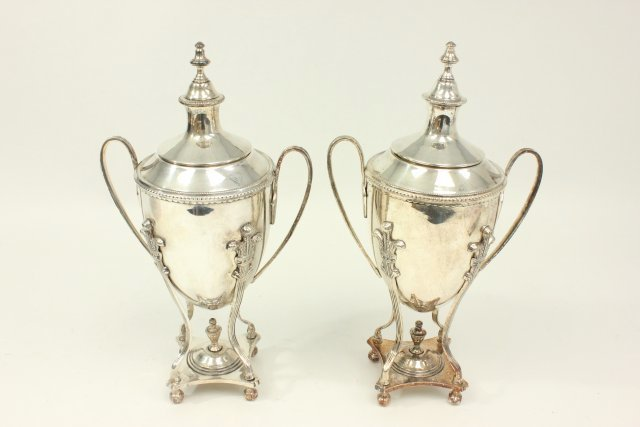 Pair Silverplated English Covered Urns
