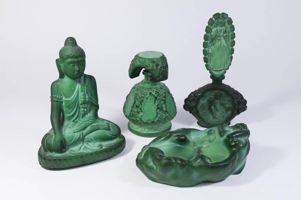 Group 4 Malachite Glass Items