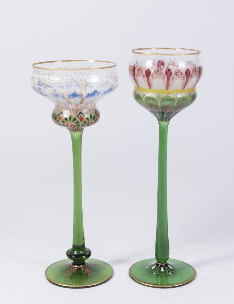 2 Enamelled Glass Goblets