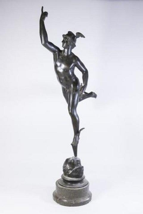 :White Metal Figure, Mercury on Marble Base
