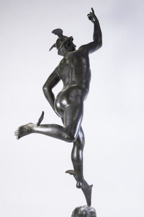 :White Metal Figure, Mercury on Marble Base - 6