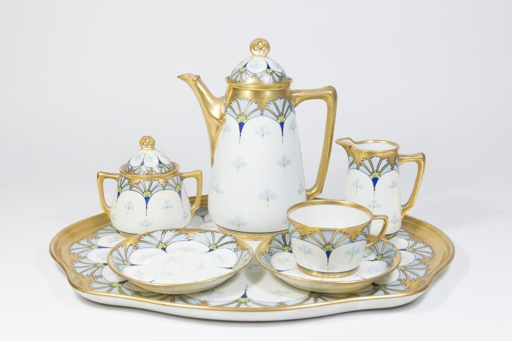 7-Pc. Limoges Art Nouveau Porcelain Coffee Service
