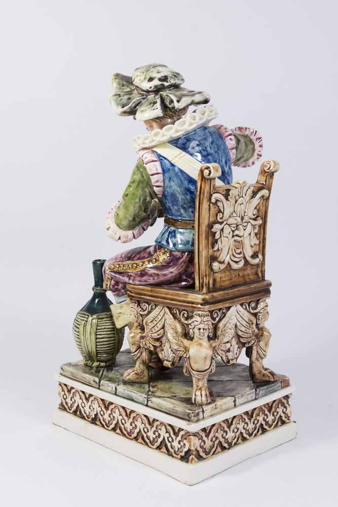 Majolica Figure, Seated Man with Cup - 4