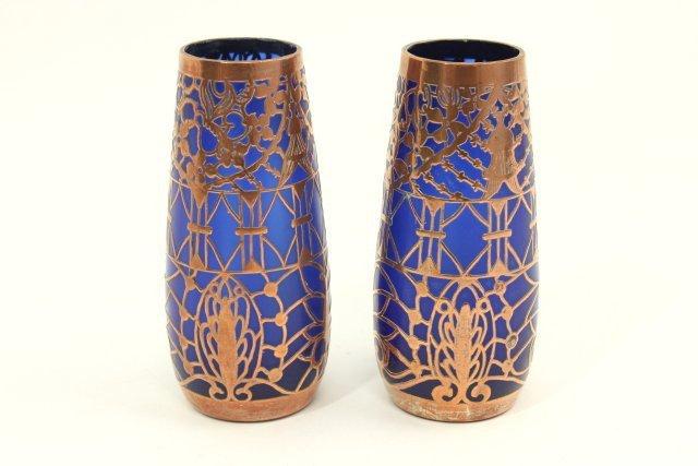 Pair Overlay Cobalt Glass Vases