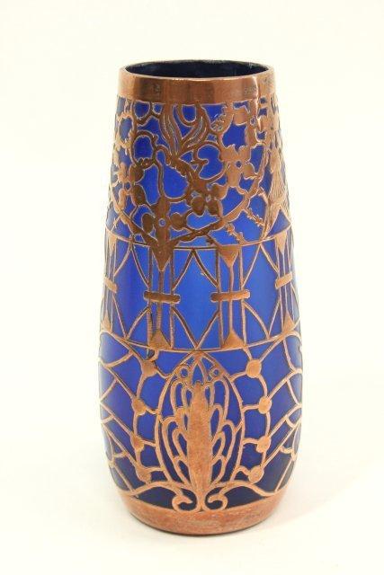 Pair Overlay Cobalt Glass Vases - 2